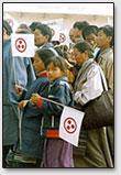 Die Demonstration in die Ehre der Dalai-Lamas. Stadt Sarnath, Tibet 1991