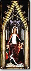 Das Zeichen der Dreieinigkeit auf dem Grabschrank des Heiligen Ursula, Hans Memling