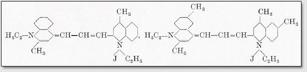 l,l'-Diäthyl-2,4'-dimethyldizyaninjodid bzw. 1,1'-Diäthyl-2,6,4',6'-tetramethyldizyaninjodid