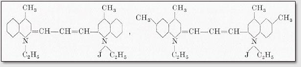 l,l'-Diäthyl-4,4'-dimethylpinazyanoljodid bzw. 1,1'-diäthyl-4,6,4',6'-tetramethylpinazyanoljodid