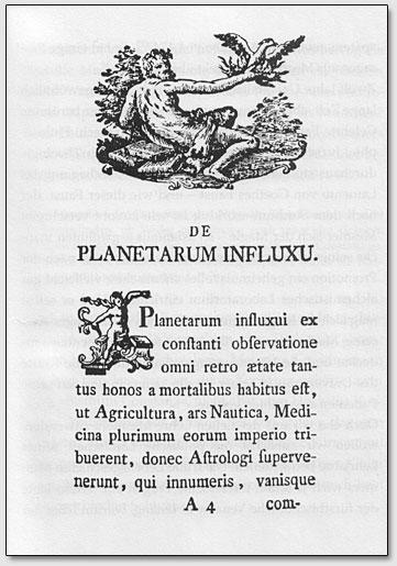 """Die erste Seite der Doktorarbeit Mesmers """"De Planetarum Influxu"""""""