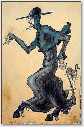 """Pfarrer-Teufel.  Die Skizze des Kostüms zum Drama Ibsens """"Peer Gynt"""".  N.K.Roerich. 1912."""