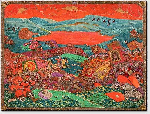 """Schlacht an Kerzhenez. Die Skizze des Vorhanges zur Oper N.A.Rimskij-Korsakovs """"Sage über die unsichtbare Stadt Kitezh und die Jungfrau Fevronija"""". N.K.Roerich. 1911."""