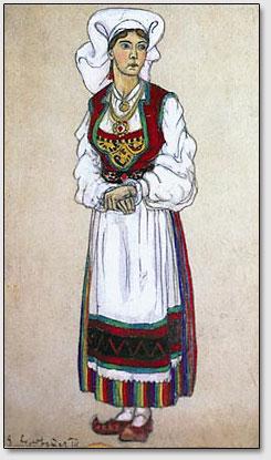 "Solvejg. Die Skizze des Kostüms zum Drama Ibsens ""Peer Gynt"".  N.K.Roerich. 1912."
