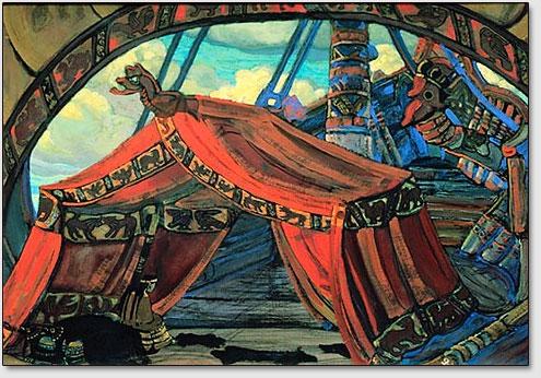 """Das Tristans Schiff. Die Skizze der Dekoration zur Oper R.Wagners """"Tristan und Isolda"""". N.K.Roerich. 1912."""