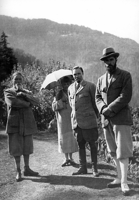 Nicholas and Helena Roerich with their sons George and Svetoslav.  Naggar, 1930-ies