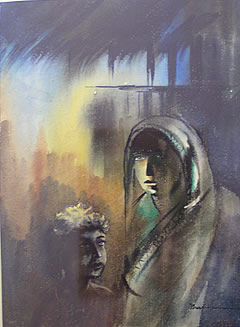 Expression of a Youth - Water colors paintings by Prabir Dutta (at the left side), Calcutta, West Bengal