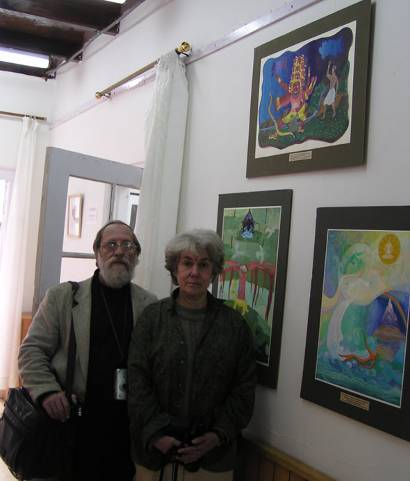 Teachers of the children 'Echo'Art Studio (St.Petersburg, Russia) at the IRMT during the inauguration of their students' paintings