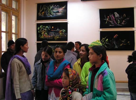 Helena Roerich Art College students at  the exhibition by Naveen Uppal, Phagwara, Punjab