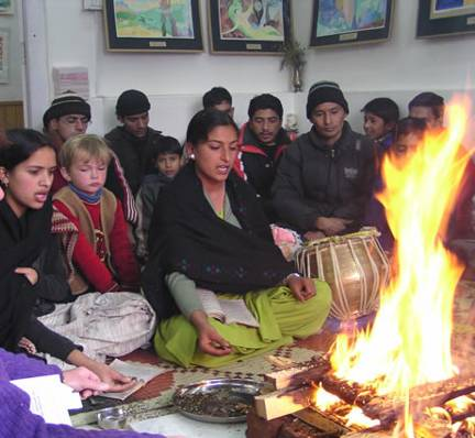 13.2.2005, Agnihotra during Helena  Roerich Birthday function