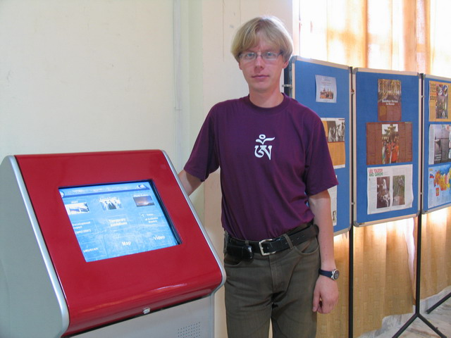 Sergey Yakovlev and touch screen kiosk.