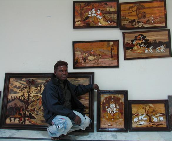Natural wood inlays paintings by  V.Subra Mani, Mysore, Karnataka