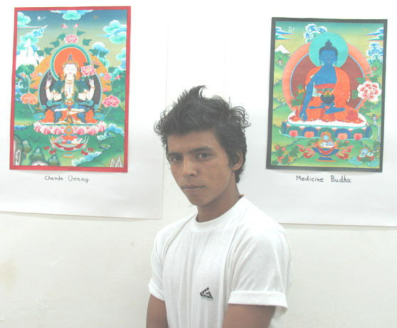 'Buddhist Deities' - Painting exhibition by Naresh, Kullu, Himachal Pradesh