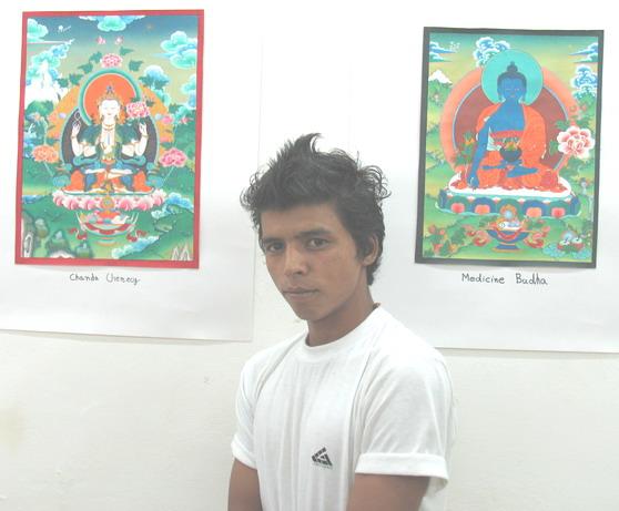 'Buddhist Deities' - Painting exhibition by Naresh, Kullu, Himachal Pradesh