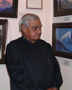 Shri A.B.Vajpayee, Honorable Prime Minister of India, Patron of the International Roerich Memorial Trust during his visit to the Roerich Art Gallery on 17.5.2003.