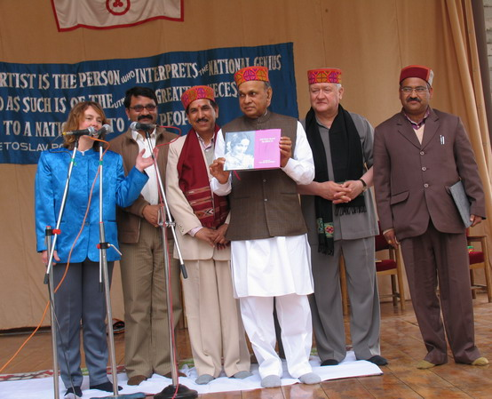 Hon'ble Chief Minister of H.P.Sh.P.K.Dhumal releases  the book on Devika Rani