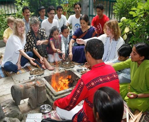 Morning Shanti Puja started the celebrations