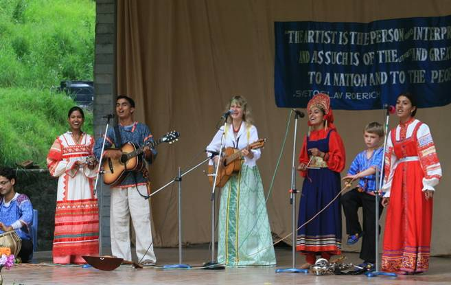 Musical group 'Himalayan Eagles' from Naggar led by Dr J.Barkova performs Russian folk songs